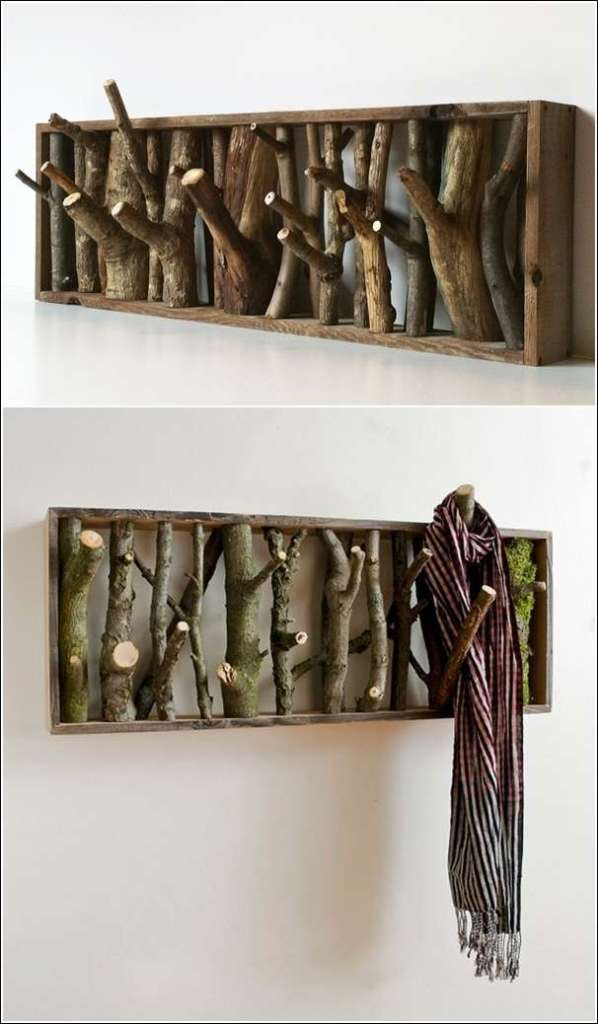 diy-Wooden-log-coat-rack