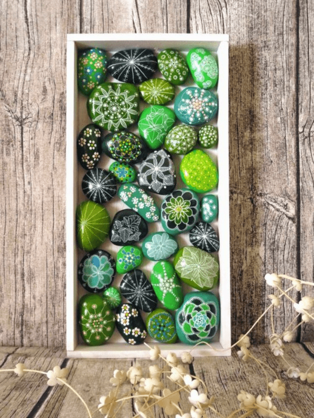 Painted rocks cactus pebbles decor