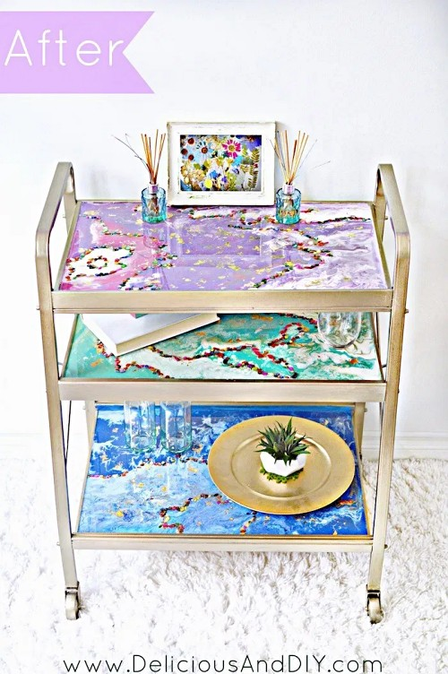 DIY-Bar-Cart-epoxy-resin-projects-colorful-glittery-transformation