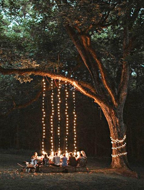 small-backyard-landscaping-gathering-under-the-tree-outdoor-lights-hanging-on-the-tree