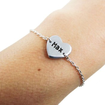 Personalized heart charm on a sterling silver bracelet