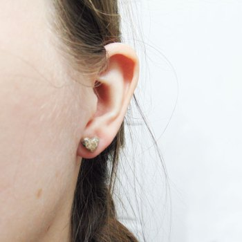 Cremation heart stud earrings, 9mm studs