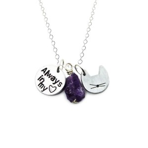 Cat loss necklace with cat charm, always in my heart charm, and amethyst
