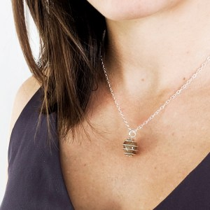 Sterling silver wire wrap memorial bead necklace