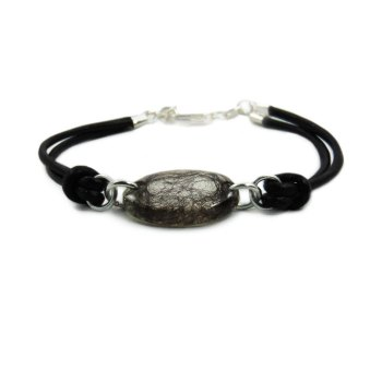 Hair locket bracelet with genuine leather