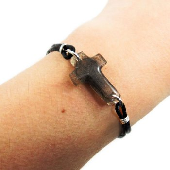 Cross memorial bracelet on genuine leather