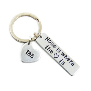 Home is where the heart is keychain with custom heart charm