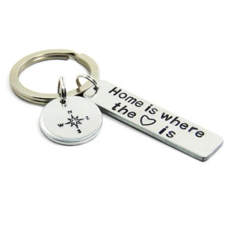 Home is where the heart is keychain with compass charm