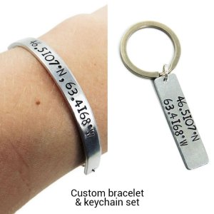 Coordinate bracelet and keychain set