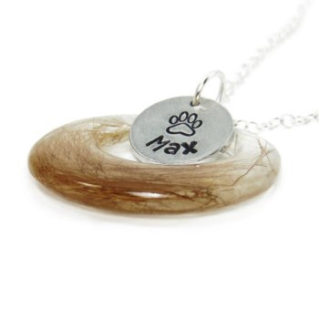 Pet fur memorial necklace with custom name charm