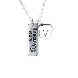 Rescue mom necklace with dog charm