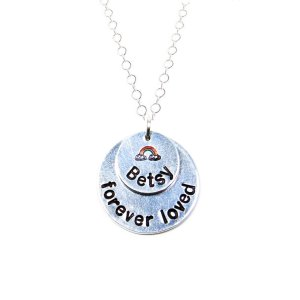 Personalized rainbow bridge necklace