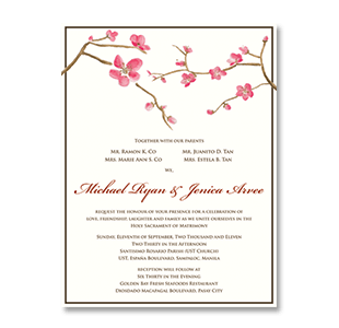 Watercolor Cherry Blossoms Golden Bay Manila Wedding Invitation