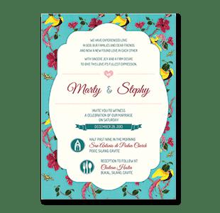 Watercolor Pea Flower Cavite Wedding Invitation