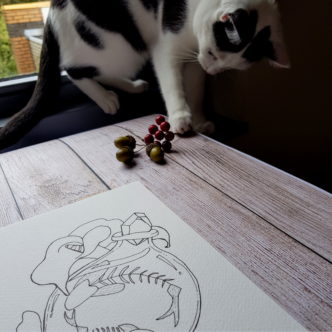 cat plays while making pictures inktober2020 inktober2020fish