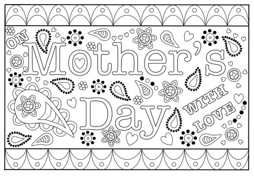 Printable Mother S Day Colouring Card