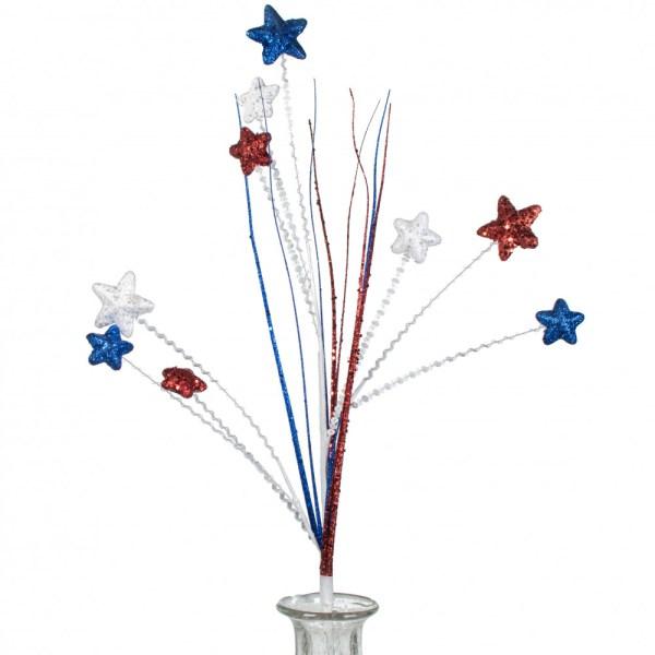 "32"" Glitter Star Grass Spray: Red, White, Blue [HJ002036 ..."
