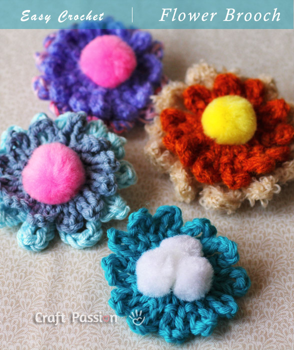 Crochet Flower Brooch Pattern & Tutorial