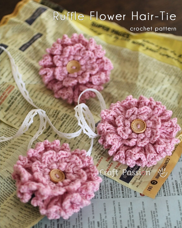 crochet ruffle flower hair tie