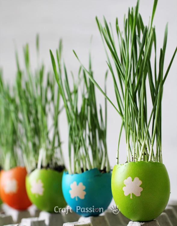 colorful eggshell easter egg planters
