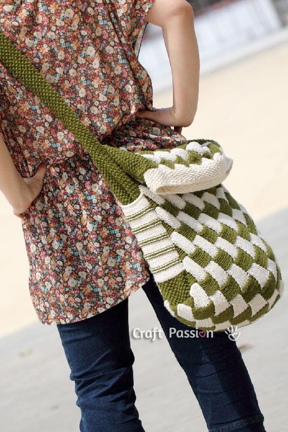 Entrelac Messenger Bag Free Knit Pattern Craft Passion