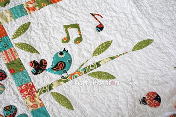 bird singing tree sun quilt template