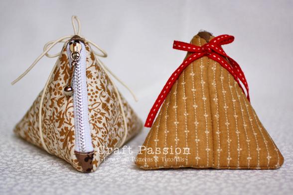 tetrahedron shaped zipper coin purse