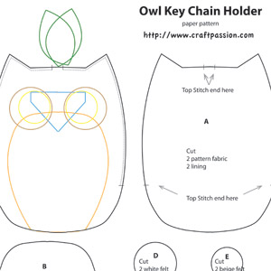 Owl Key Pouch Free Sewing Pattern Craft Passion
