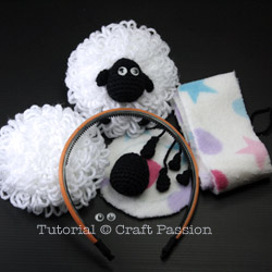 Crochet sheep earmuffs