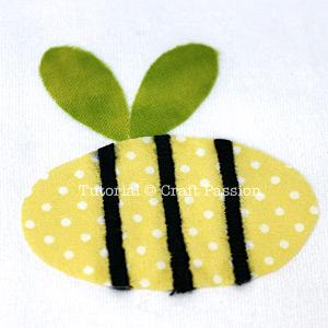 Onesie Applique Bumble Bee Pattern
