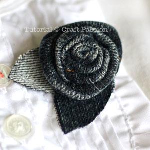make denim rosette brooch