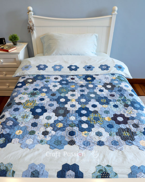 hexagon flower quilt pattern