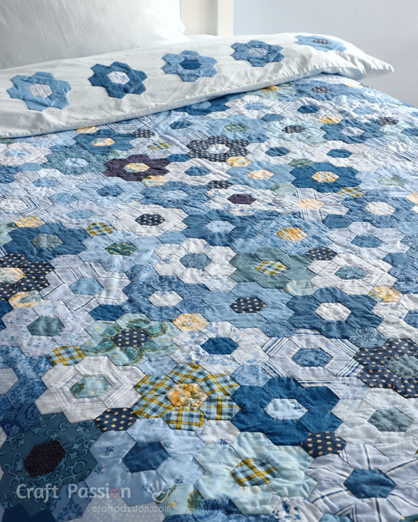 machine sew hexagon quilt
