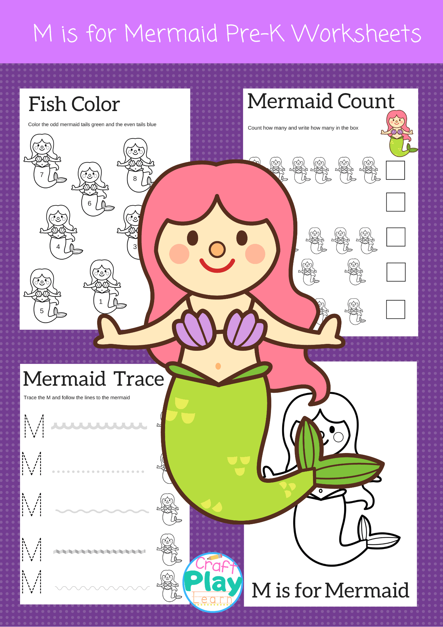 Letter M Worksheets For Preschool Kids And Mermaid