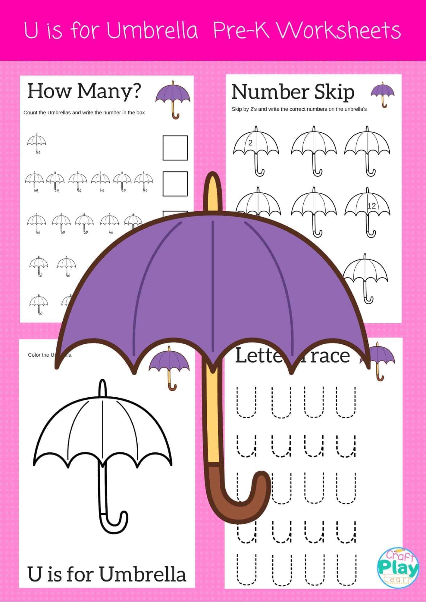 Letter U Worksheets For Preschool Kids