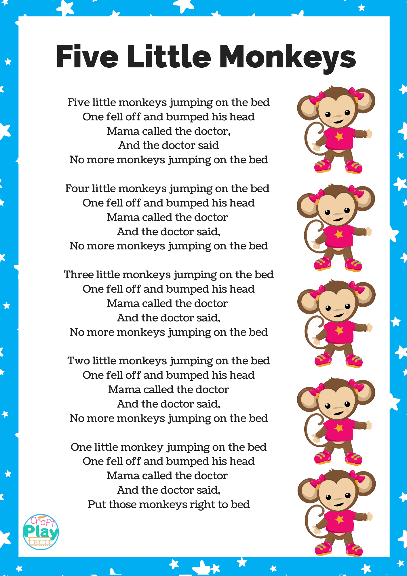 Five Little Monkeys Printable And Activity Ideas