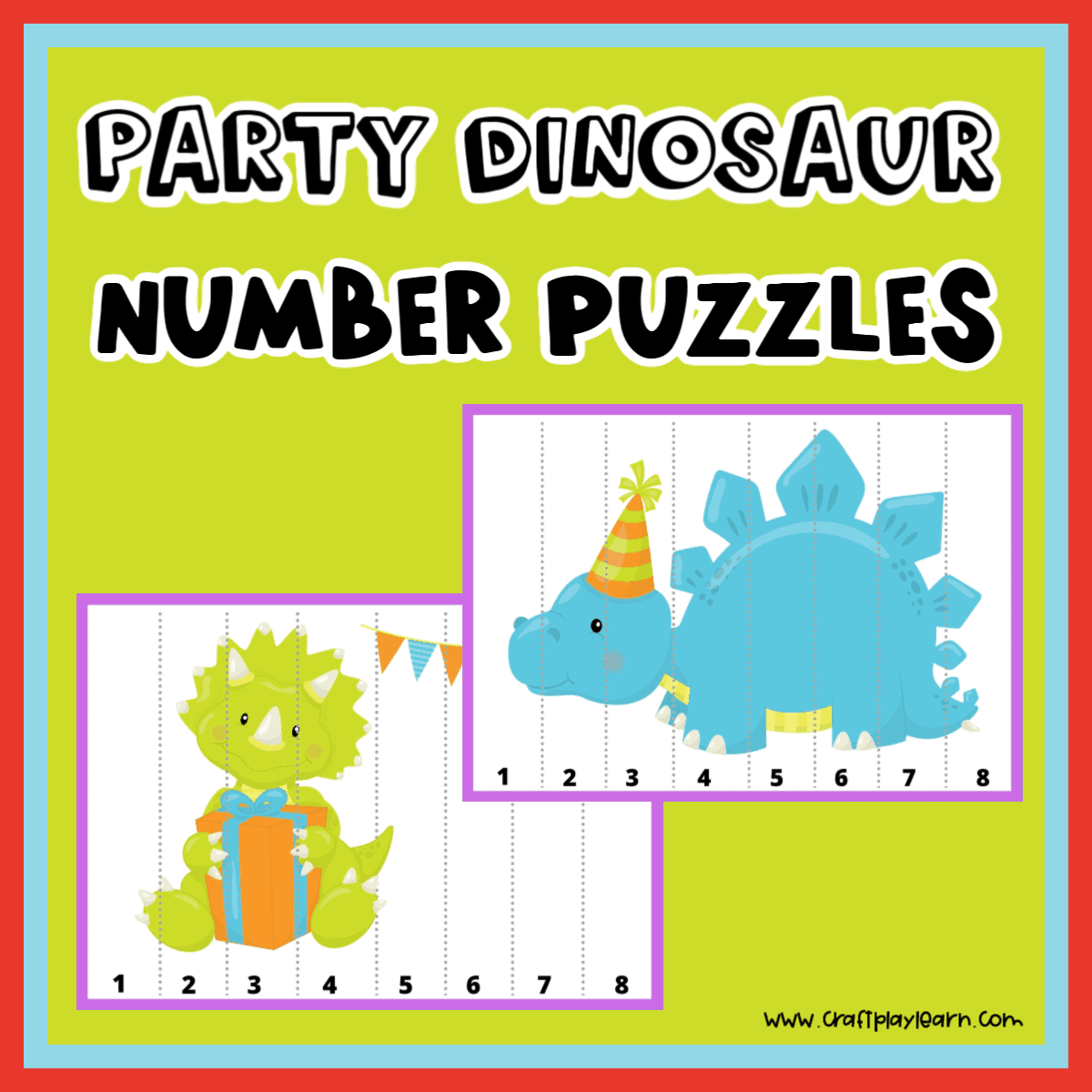 Dinosaur Number Puzzles For Kids