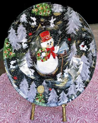 Snowman Christmas Glass Plate