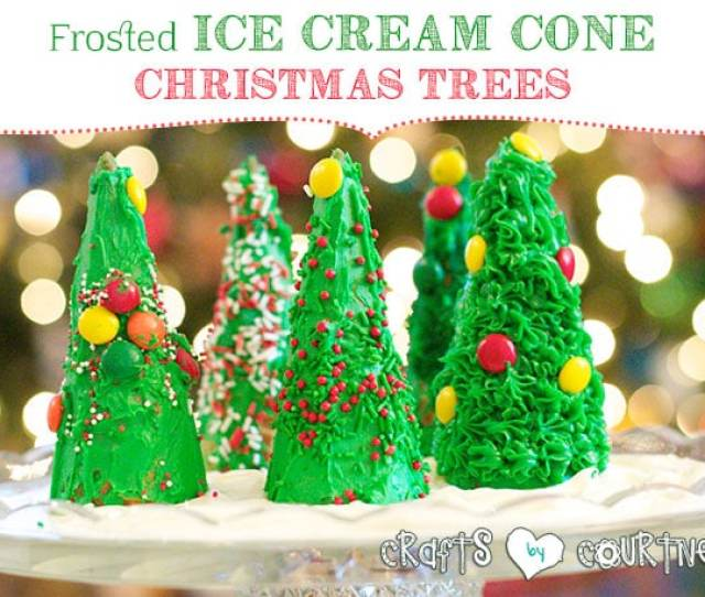 Frosted Ice Cream Cone Christmas Tree Craft