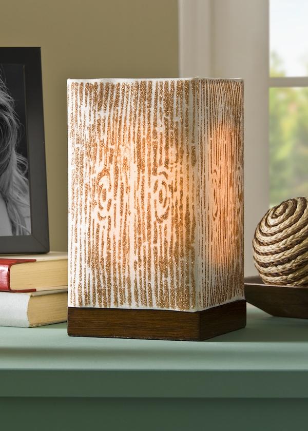 Summer Spotlight - Amy from Mod Podge Rocks! - DIY woodgrain lamp with a stencil