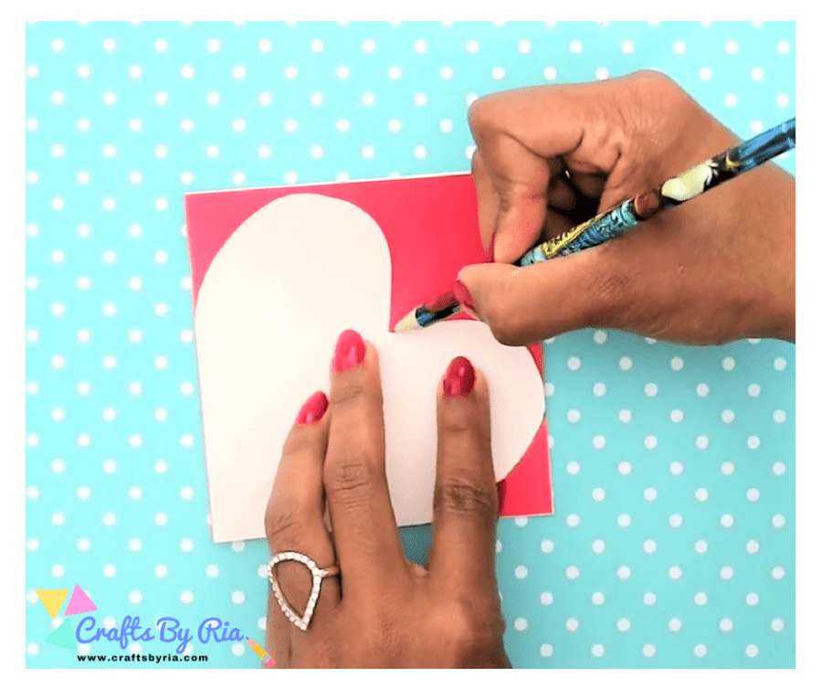 DIY VALENTINES DAY CARD- cut a heart shape out of the cardstock paper