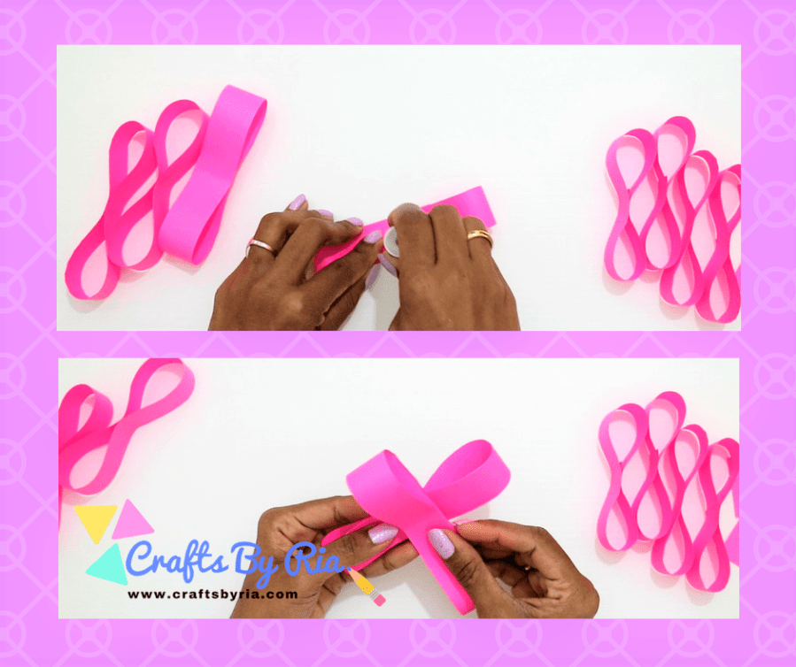 Easy Paper Bow steps- stick the 8 shapes together