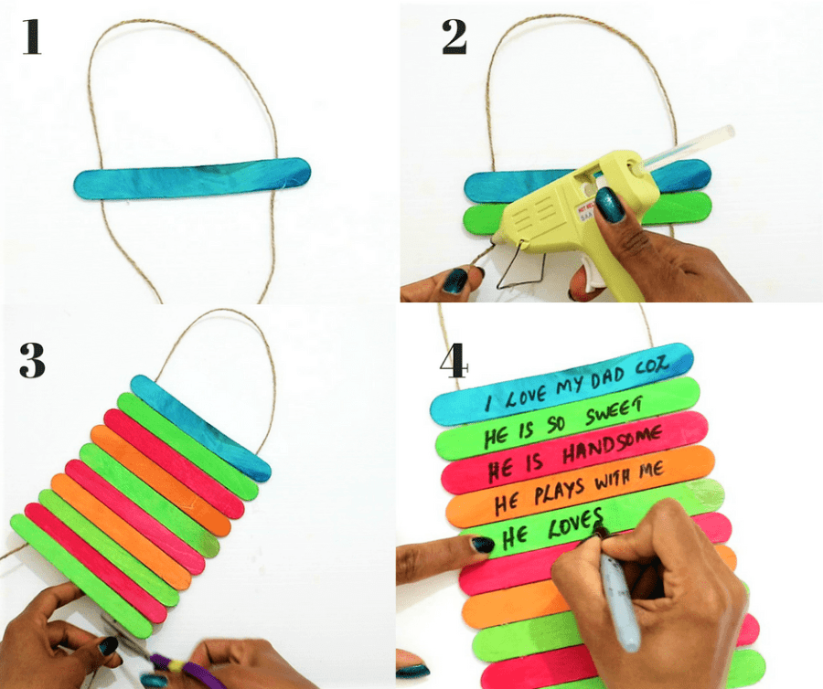 father's day craft ideas- stick the popsicle sticks on the jute twine