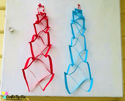 This hanging ornament is one of the easiest paper Christmas crafts for kids
