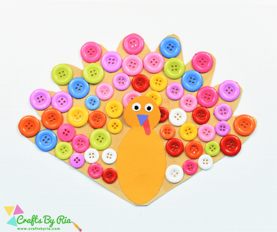 thanksgiving turkey craft with buttons (1)