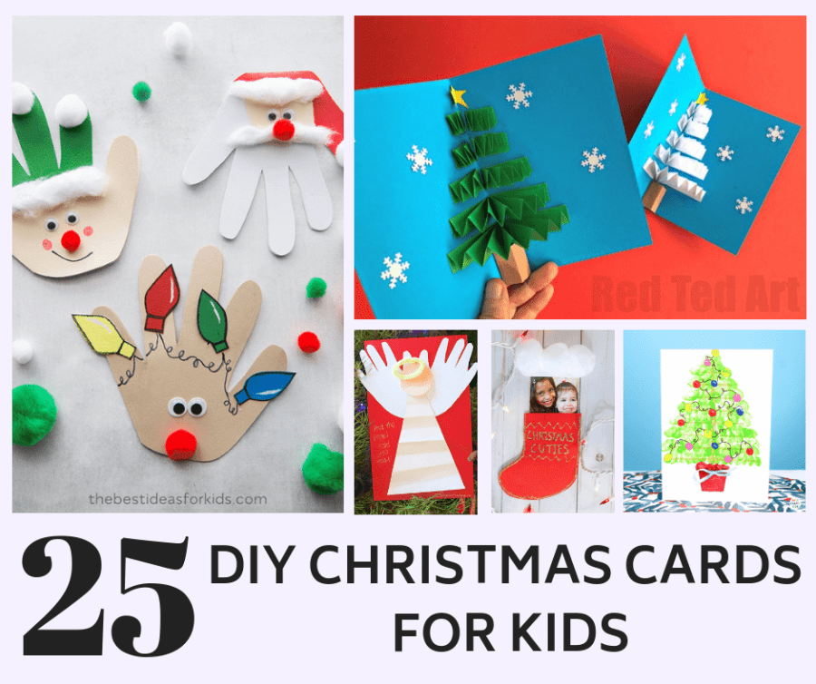 25 Cute homemade Christmas card ideas for kids - Crafts By Ria
