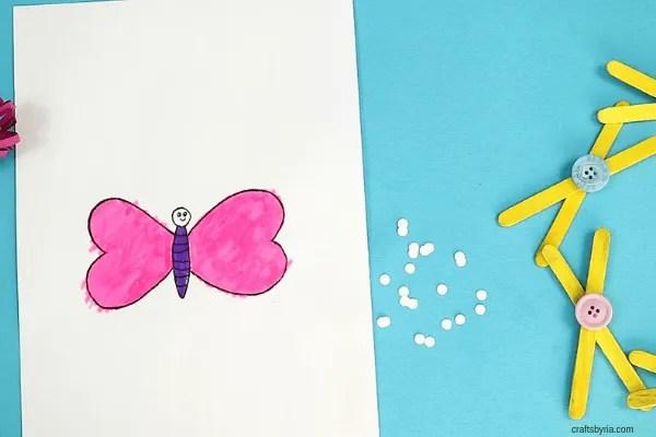 heart butterfly craft-step5