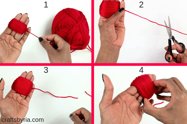 how to make a pom pom heart with beads-wrap the yarn around your 3 fingers