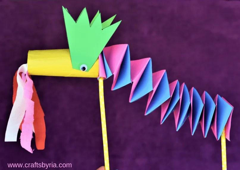 paper dragon puppet craft