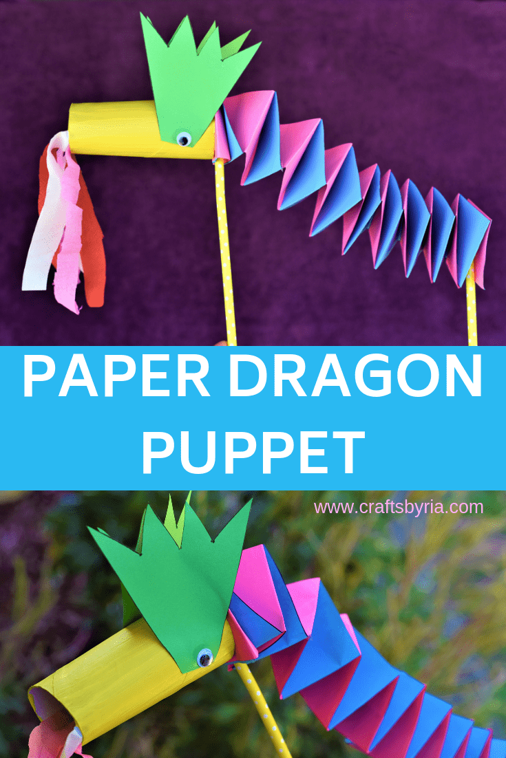 paper dragon puppet craft-pin